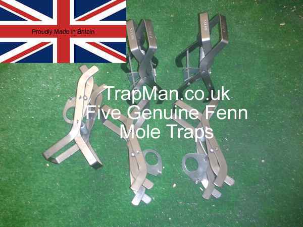 Pack of five genuine Fenn mole traps, scissor type, easy to set and effective mole catching.