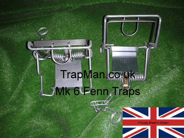 Genuine Mk 6 Fenn traps, it is a legal requirement in England Wales & Scotland that these Mk 6 Fenn kill traps must be set in a tunnel either natural or artificial and checked at least once every 24hrs, ideally more often.