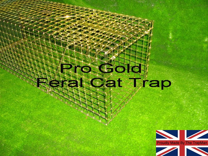 pro gold feral cat trap with clear plastic rear sliding door to allow easy cat removal